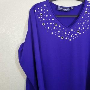 Susan Graver Tops - Susan Graver Royal Blue Butternit 3/4 Sleeve Top